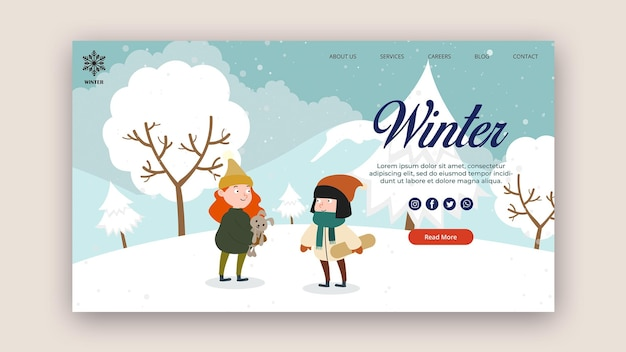 Landing page template for winter with people