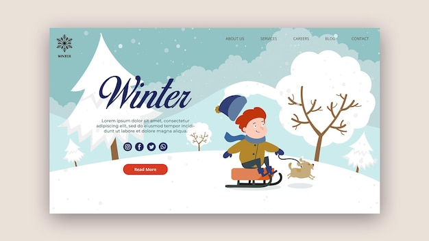 Landing page template for winter