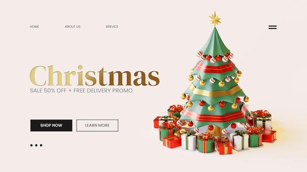 Шаблон целевой страницы с рождественской сосной, 3d визуализация