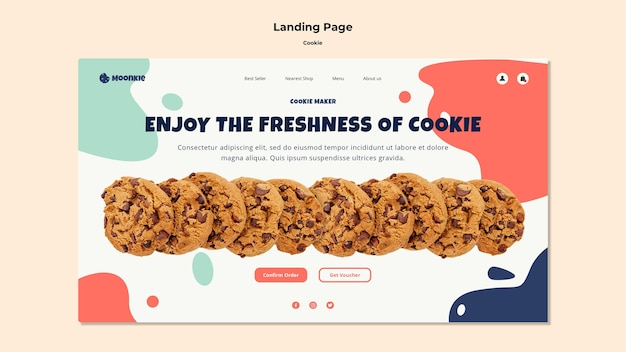 Landing page template with cookies