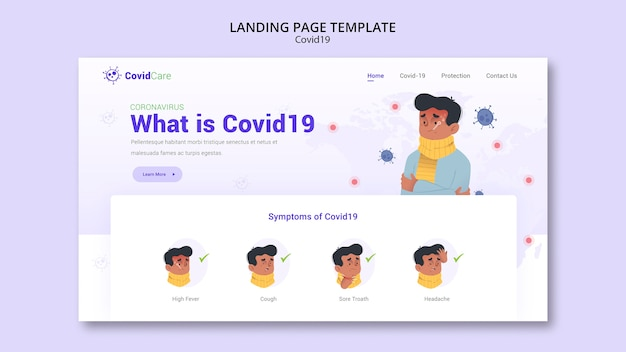Covid19を使用したランディングページテンプレート