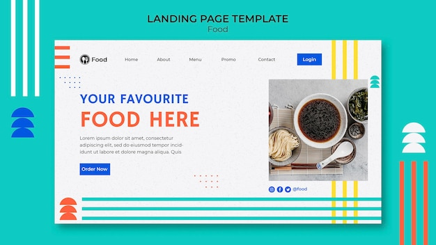 Landing page template with dishes from asian cuisine