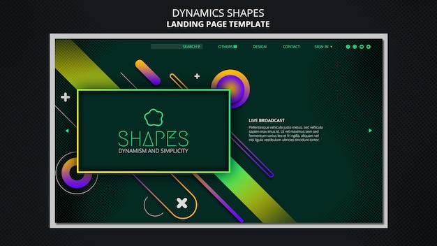 Landing page template with dynamic geometric neon shapes