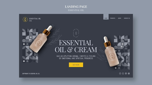 Landing page template with essential oil cosmetics