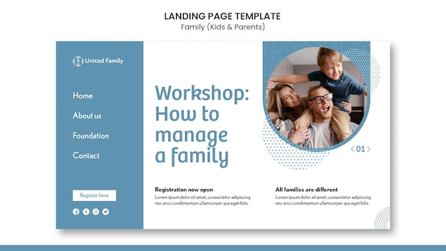Landing page template with family and children