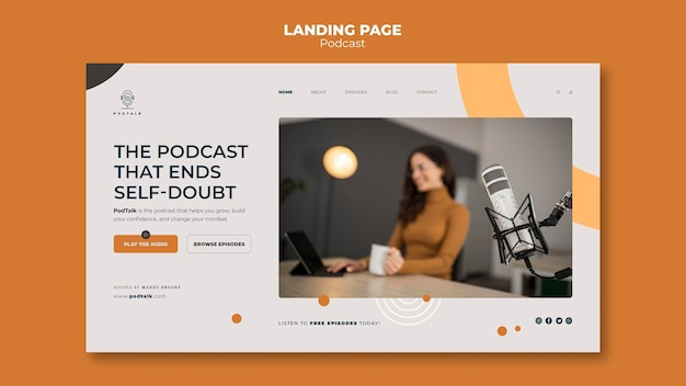 Landing page template with female podcaster and microphone