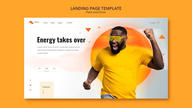 Landing page template with pain and draw