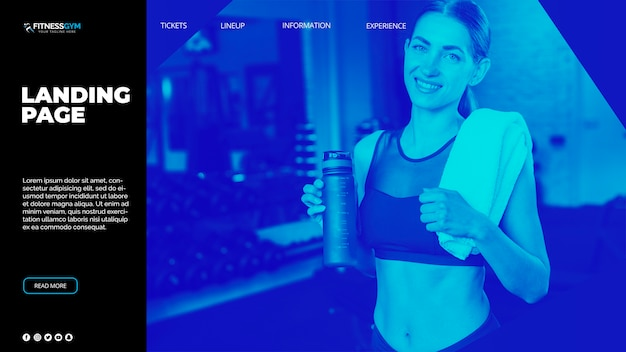 Landing page template with sports concept