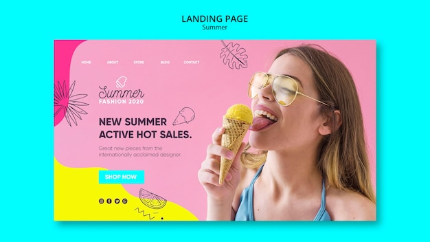 Landing page template with summer sale design
