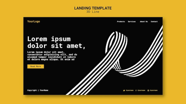 Landing page template with three-dimensional lines