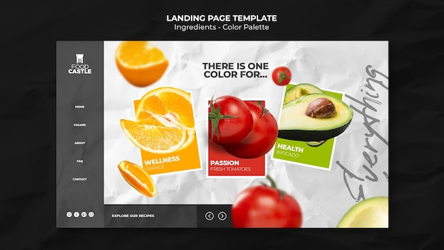 Landing page template with tomato, orange and avocado