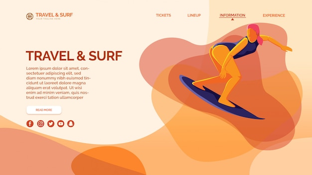 Landing page template with travel and surf concept