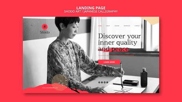 Landing page template with woman practicing japanese shodo art