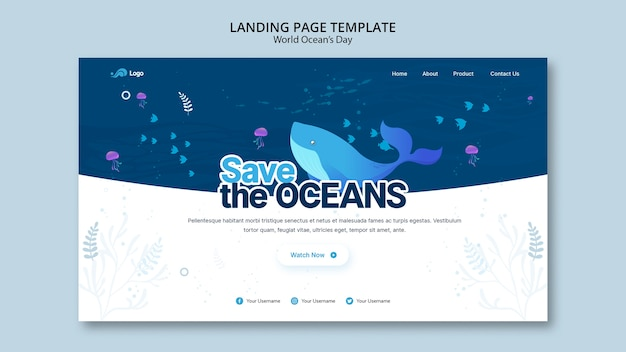Landing page template with world ocean day concept