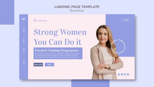 Landing page template for women in business