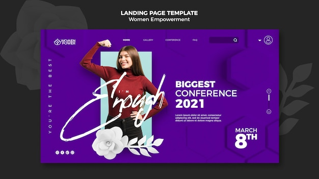 Landing page template for women empowerment with encouraging word