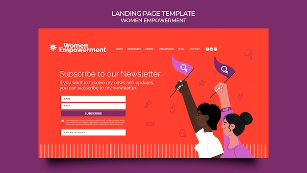 Landing page template for women empowerment