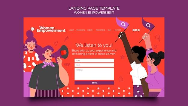 Modello di pagina di destinazione per l'emancipazione delle donne