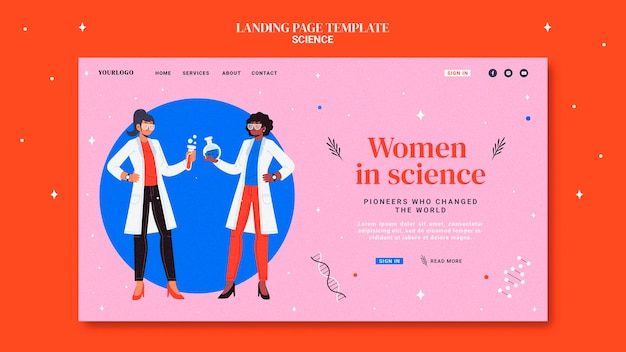 Landing page template for women in science