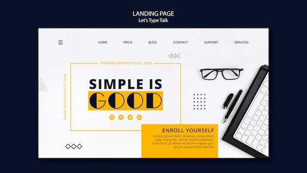 Landing page template for work productivity