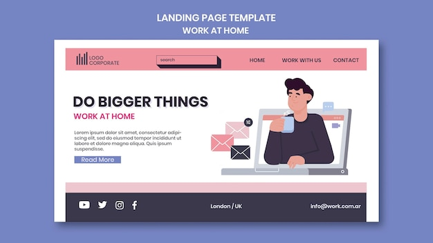 Landing page template for working from home