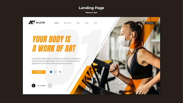 Landing page template for working out at the gym during the pandemic