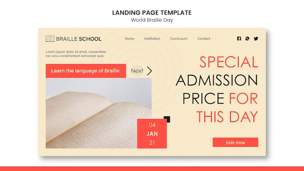 Landing page template for world braille day