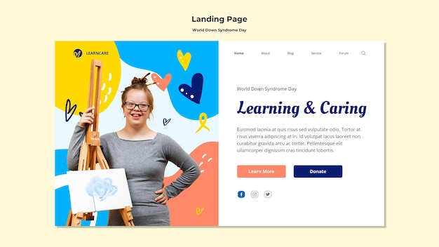 Landing page template for world down syndrome day