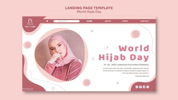 Modello di pagina di destinazione per la celebrazione della giornata mondiale dell'hijab