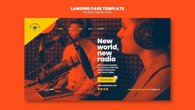 Landing page template for world radio day with broadcaster and microphone