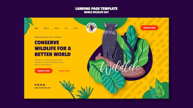 Landing page template for world wildlife day celebration