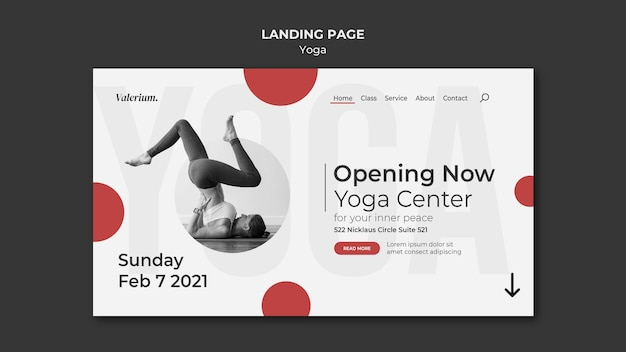 Landing page template for yoga class with female instructor