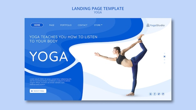 Landing page template for yoga fitness