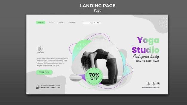 Landing page template for yoga lessons
