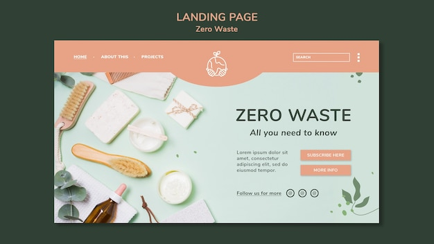 Landing page template for zero waste lifestyle Premium Psd