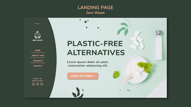 Landing page template for zero waste lifestyle