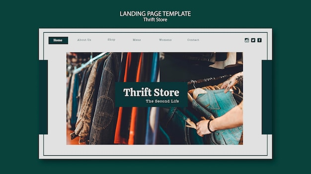 Landing page thrift store template