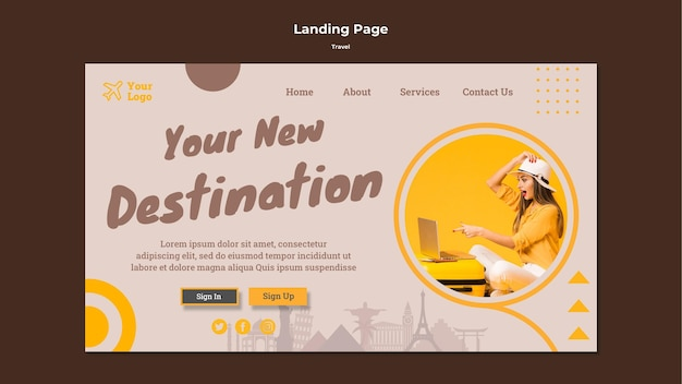 Landing page for traveling adventure time