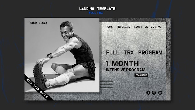 Landing page for trx workout with male athlete