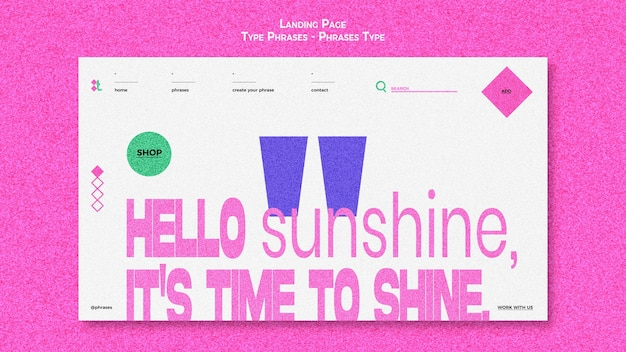 Landing page for type phrases