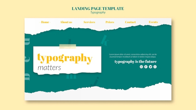 Landing page typography service template