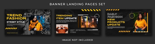 Landing page urban fashion black collection set template