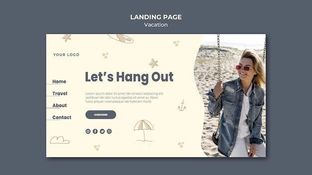 ランディングページの休暇-広告テンプレート