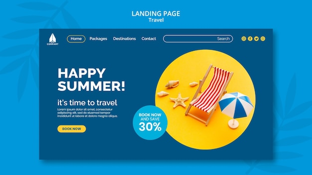 Landing page for vacation traveling