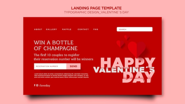 Landing page for valentine's day with hearts