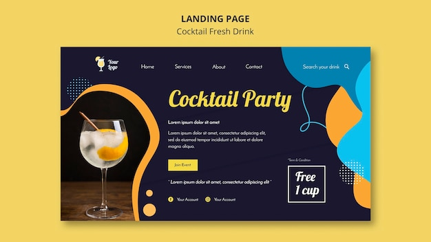 Landing page for variety of cocktails