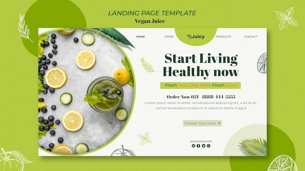Landing page for vegan juice delivery company