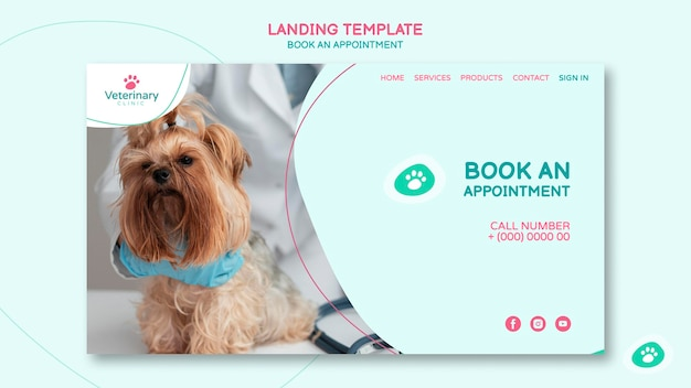 Landing page for vet appointment