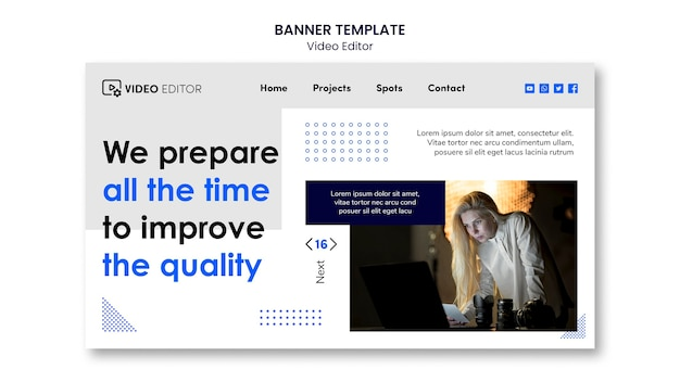 Landing page for video editing workshop