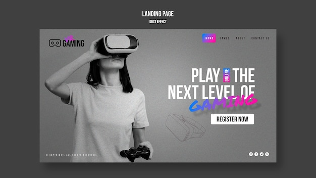 Landing page virtual reality gaming template
